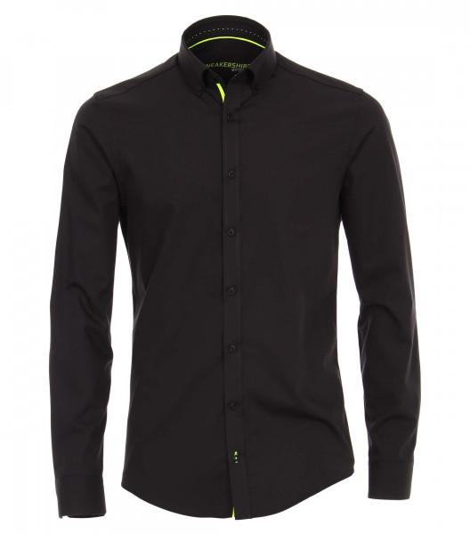 Chemise Venti MODERN FIT UNI POPELINE noir avec col Button Down en coupe moderne