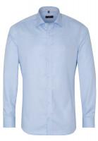 Chemise Eterna SLIM FIT STRUCTURE bleu clair avec col Classic Kent en coupe étroite