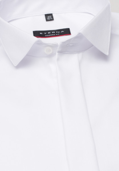 Chemise Eterna MODERN FIT TWILL blanc avec col Cassè en coupe moderne