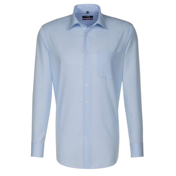 Chemise Seidensticker REGULAR UNI POPELINE bleu clair avec col Business Kent en coupe moderne
