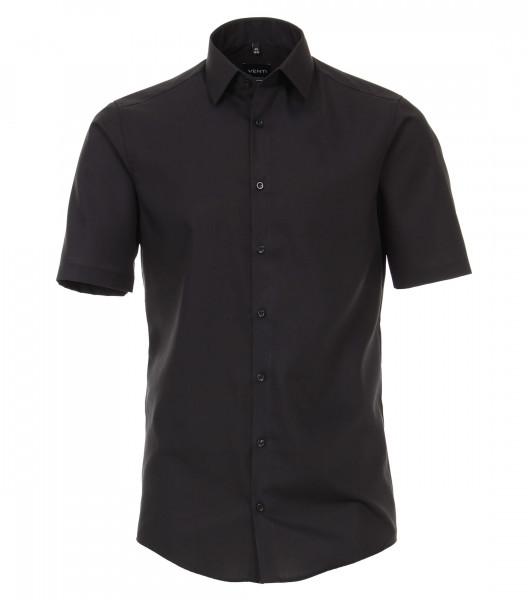 Chemise Venti MODERN FIT UNI POPELINE noir avec col Kent en coupe moderne