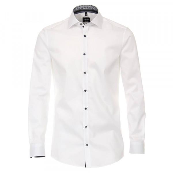 Chemise Venti BODY FIT TWILL blanc avec col Kent en coupe étroite
