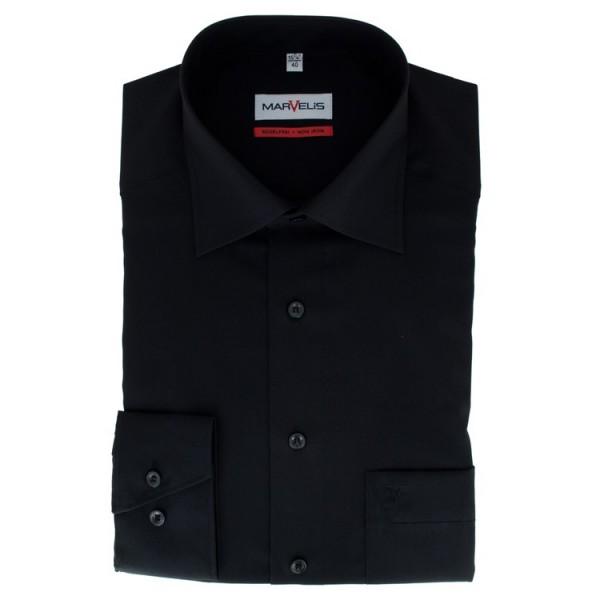 Chemise Marvelis COMFORT FIT UNI POPELINE noir avec col Nouveau Kent en coupe classique