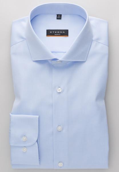 Chemise Eterna SLIM FIT TWILL bleu clair avec col Italien en coupe étroite
