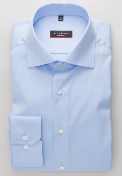 Chemise Eterna MODERN FIT TWILL bleu clair avec col Classic Kent en coupe classique