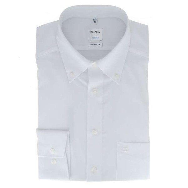 Chemise OLYMP Tendenz modern fit UNI POPELINE blanc avec col Button Down en coupe moderne