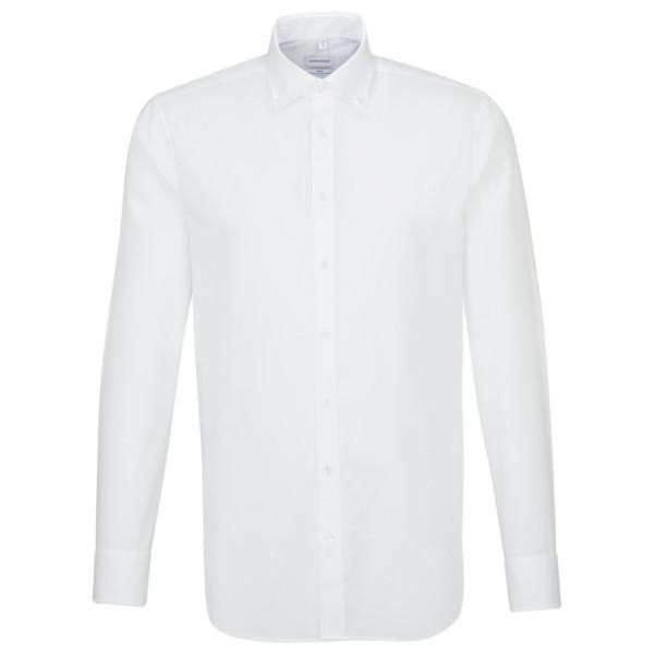 Chemise Seidensticker SLIM FIT UNI POPELINE blanc avec col Button Down en coupe étroite