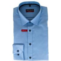 Chemise Marvelis BODY FIT TWILL bleu clair avec col New York Kent en coupe étroite