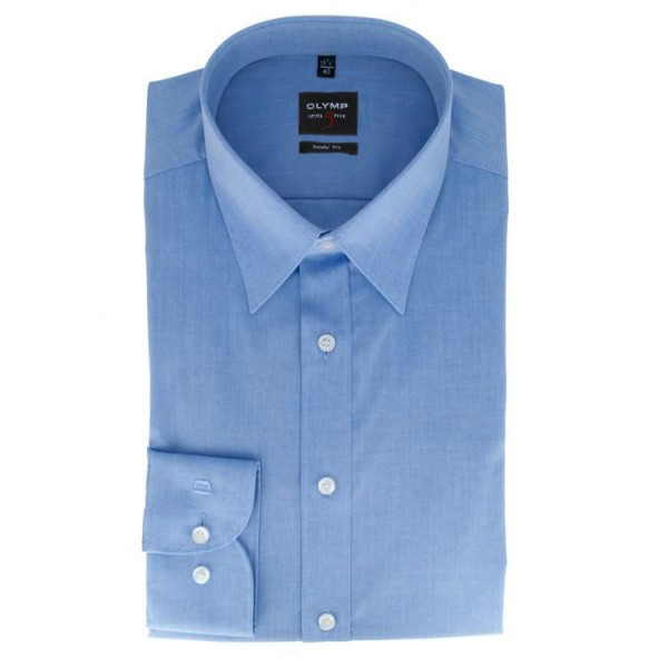 Chemise OLYMP Level Five body fit CHAMBRAY bleu moyen avec col New York Kent en coupe étroite