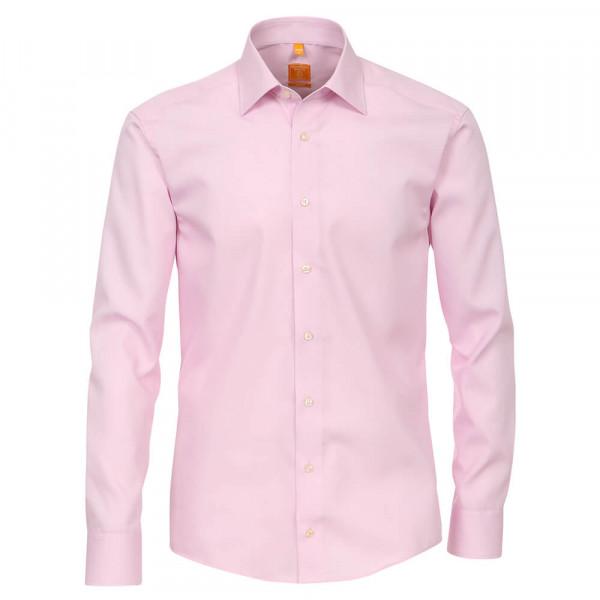 Chemise Redmond MODERN FIT UNI POPELINE rose avec col Kent en coupe moderne