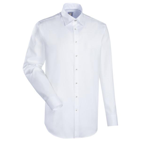 Chemise Jacques Britt CUSTOM FIT TWILL blanc avec col Kent en coupe moderne