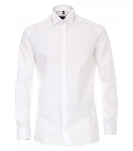 Chemise CASAMODA MODERN FIT UNI POPELINE blanc avec col Cassè en coupe moderne
