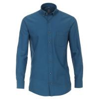 Chemise Redmond COMFORT FIT STRUCTURE bleu moyen avec col Button Down en coupe classique