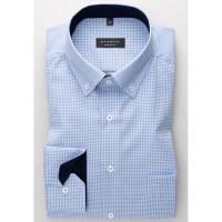 Chemise Eterna COMFORT FIT TWILL CARREAU bleu clair avec col Button Down en coupe classique