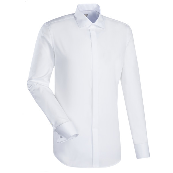 Chemise Jacques Britt CUSTOM FIT UNI POPELINE blanc avec col Kent en coupe moderne