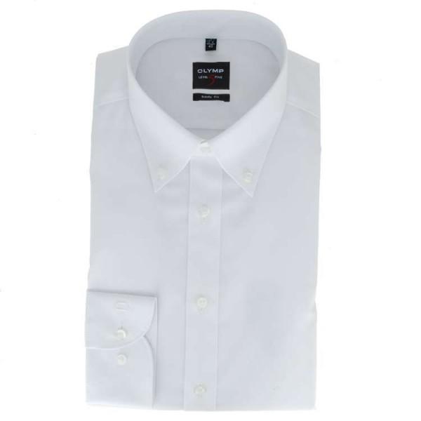 Chemise OLYMP Level Five body fit UNI POPELINE blanc avec col Button Down en coupe étroite