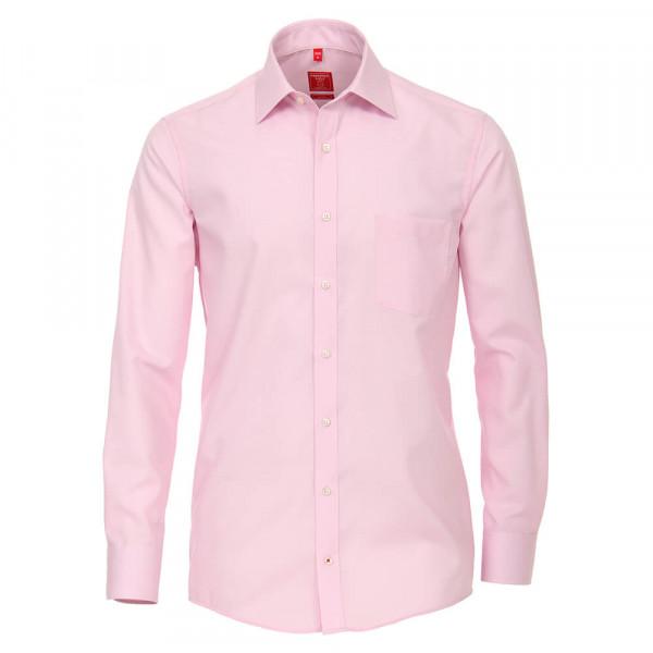 Chemise Redmond COMFORT FIT UNI POPELINE rose avec col Kent en coupe classique