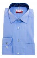 Chemise Marvelis MODERN FIT TWILL bleu clair avec col Nouveau Kent en coupe moderne