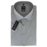 Chemise OLYMP Level Five body fit UNI POPELINE gris avec col New York Kent en coupe étroite