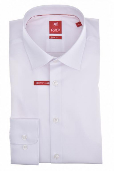 """Chemise Pure """"Slim Fit Stretch"""" blance, col kent, coupe moderne"""