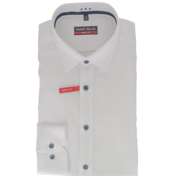 Chemise Marvelis BODY FIT TWILL blanc avec col New York Kent en coupe étroite
