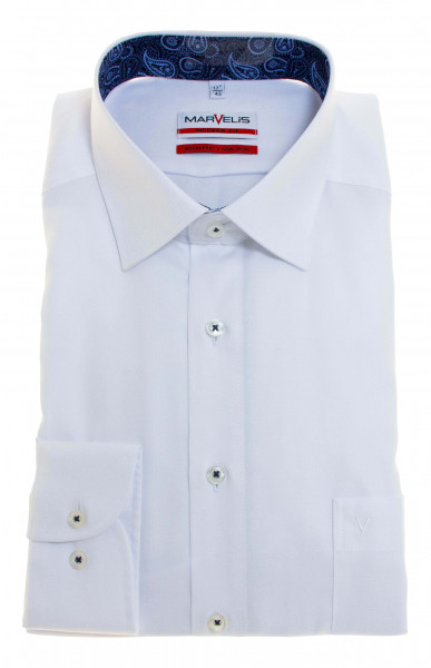 Chemise Marvelis MODERN FIT TWILL blanc avec col Nouveau Kent en coupe moderne