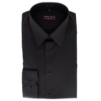 Chemise Marvelis BODY FIT UNI POPELINE anthracite avec col New York Kent en coupe étroite