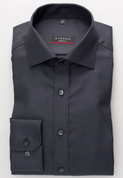 Chemise Eterna MODERN FIT TWILL BANDES anthracite avec col Classic Kent en coupe moderne