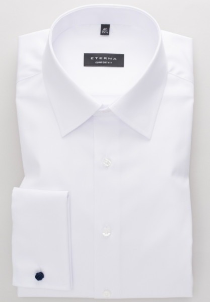 Chemise Eterna COMFORT FIT TWILL blanc avec col Kent de base en coupe classique