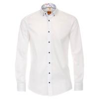 Chemise Redmond MODERN FIT UNI POPELINE blanc avec col Button Down en coupe moderne