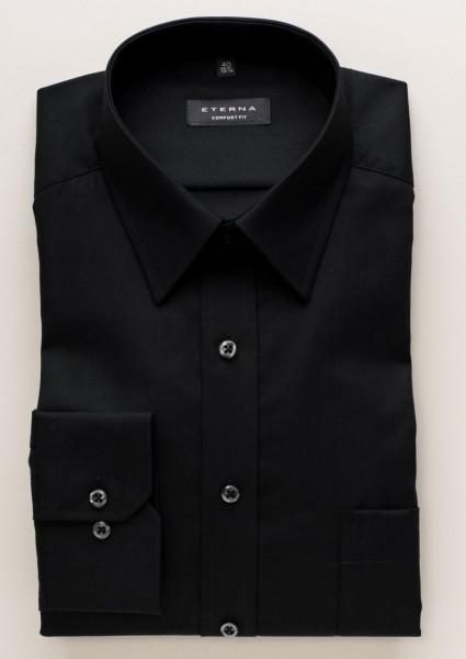 Chemise Eterna COMFORT FIT UNI POPELINE noir avec col Kent de base en coupe classique