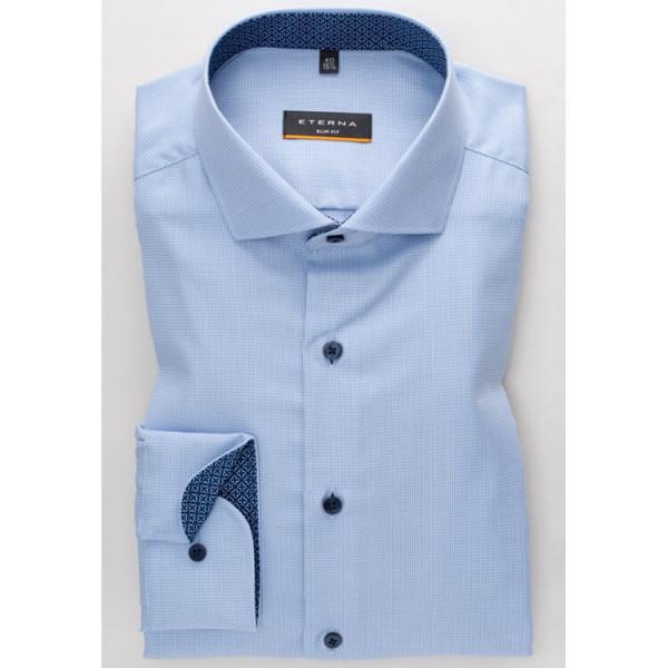 Chemise Eterna SLIM FIT TWILL STRUCTURE bleu clair avec col Italien en coupe étroite