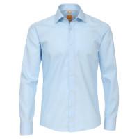 Chemise Redmond MODERN FIT UNI POPELINE bleu clair avec col Kent en coupe moderne