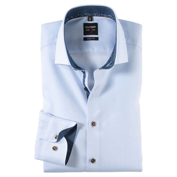 Chemise OLYMP Level Five body fit STRUCTURE bleu clair avec col Royal Kent en coupe étroite