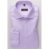 Chemise Eterna MODERN FIT TWILL lilas avec col Classic Kent en coupe moderne