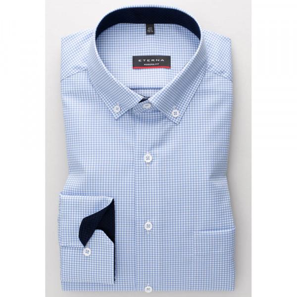 Chemise Eterna MODERN FIT TWILL CARREAU bleu clair avec col Button Down en coupe moderne