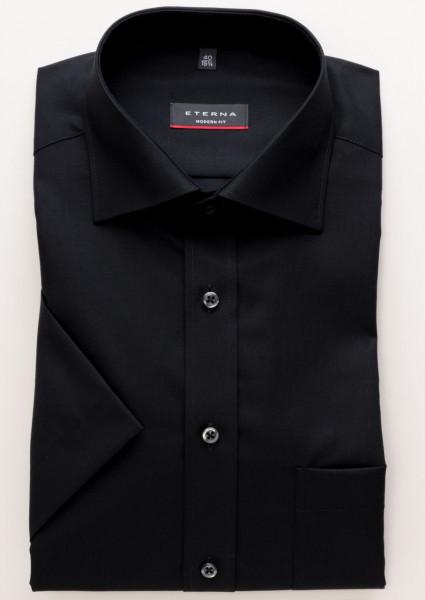Chemise Eterna MODERN FIT UNI POPELINE noir avec col Classic Kent en coupe moderne