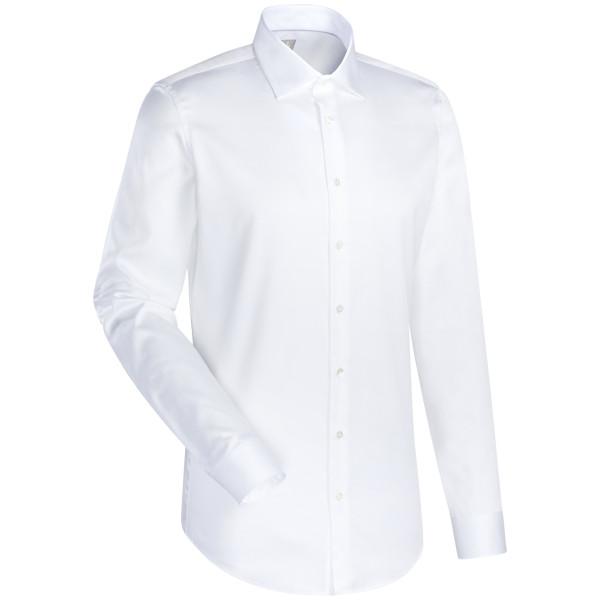 Chemise Jacques Britt CUSTOM FIT SATIN blanc avec col Kent en coupe moderne