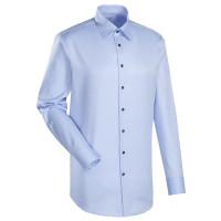 Chemise Jacques Britt CUSTOM FIT TWILL bleu clair avec col Kent en coupe moderne