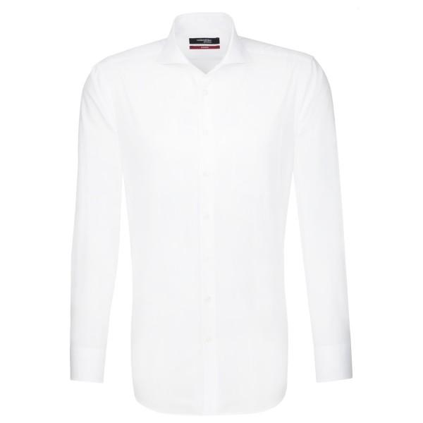 Chemise Seidensticker REGULAR UNI POPELINE blanc avec col Italien en coupe moderne