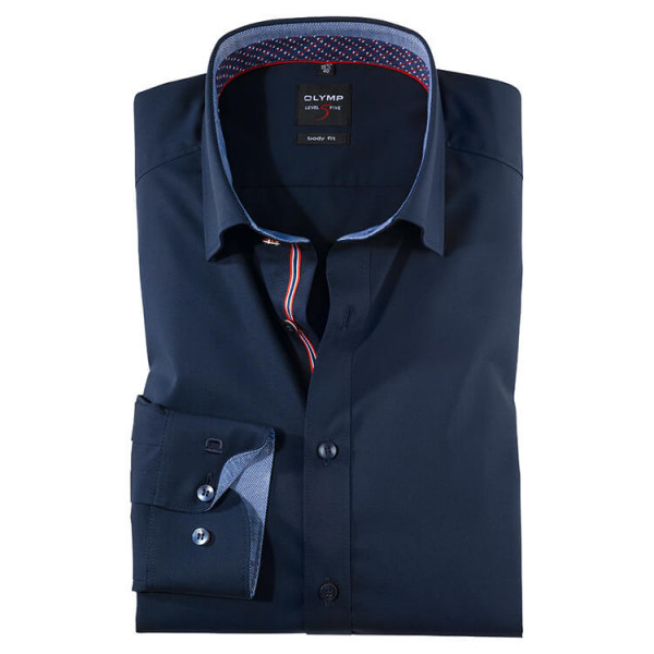 Chemise OLYMP Level Five body fit UNI POPELINE bleu foncé avec col Under Button Down en coupe étroite