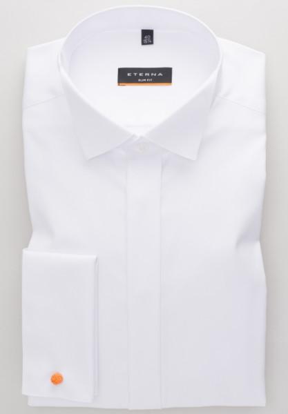 Chemise Eterna SLIM FIT TWILL blanc avec col Cassè en coupe étroite