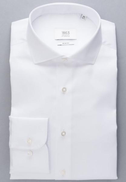Chemise Eterna SLIM FIT TWILL blanc avec col Italien en coupe moderne
