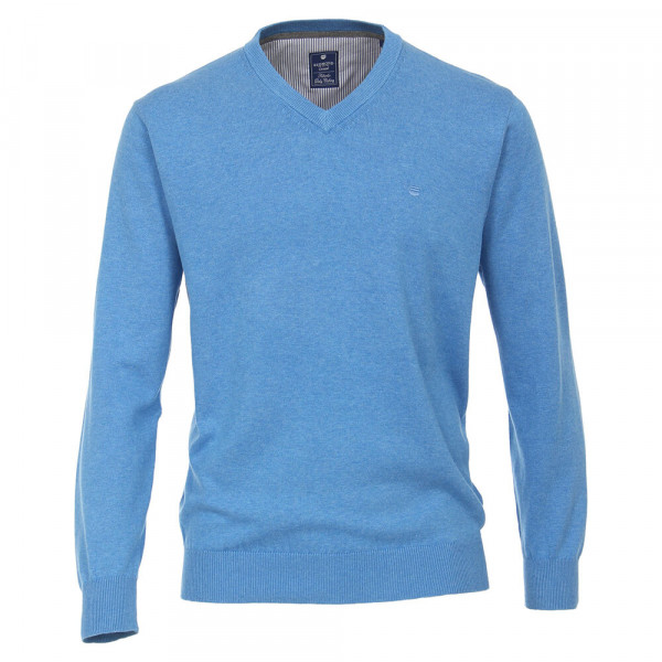 Pull Redmond bleu moyen en coupe classique