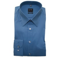 Chemise OLYMP Level Five body fit UNI POPELINE bleu moyen avec col New York Kent en coupe étroite