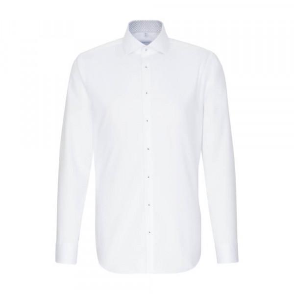 Chemise Seidensticker SLIM FIT TWILL blanc avec col Spread Kent en coupe étroite