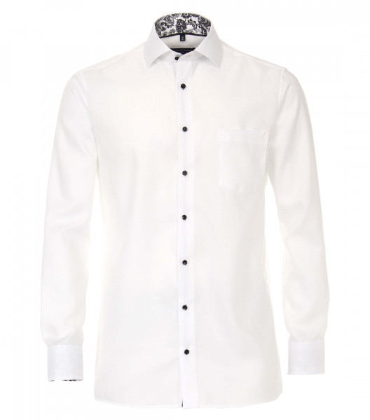 Chemise CASAMODA COMFORT FIT STRUCTURE blanc avec col Kent en coupe classique