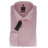 Chemise OLYMP Level Five body fit CHAMBRAY rose avec col New York Kent en coupe étroite