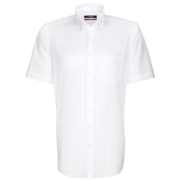 Chemise Seidensticker REGULAR UNI POPELINE blanc avec col Button Down en coupe moderne