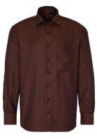 Chemise Eterna COMFORT FIT STRUCTURE brun foncé avec col Classic Kent en coupe moderne